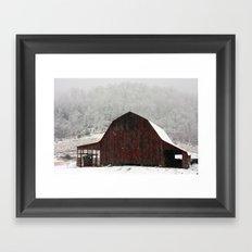 Snowy Red Barn Framed Art Print