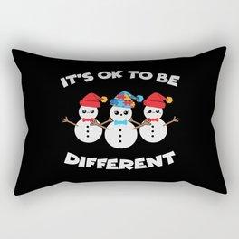 Be Different Christmas Autism Snowman Rectangular Pillow