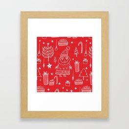 Santa Workshop Red Framed Art Print