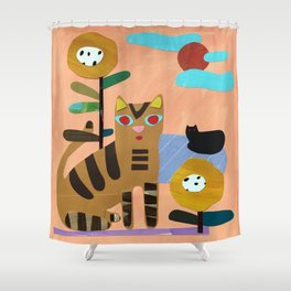 Cats on the Lawn Shower Curtain