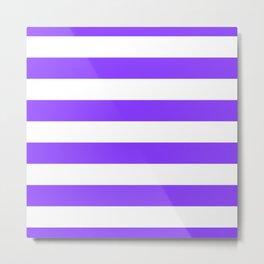 Aztech Purple and White Horizontal Cabana Tent Stripes Metal Print