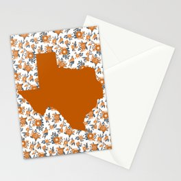 Texan texas longhorns orange and white university college football floral Stationery Cards