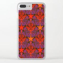 Starfire Kaleidoscope (Ruby Rocket Red) Clear iPhone Case