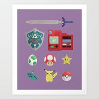 video games Art Prints featuring video games by Black