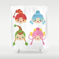 sailormoon Shower Curtains featuring Amazoness Quartet by Azul Piñeiro