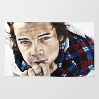 harry styles Area & Throw Rugs featuring Harry Styles Portrait by Tiffany Taimoorazy