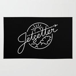 Jetsetter - White ink on black Rug