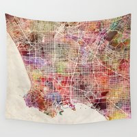 los angeles Wall Tapestries featuring Los Angeles by Map Map Maps