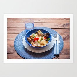 Paccheri pasta with seafood Art Print
