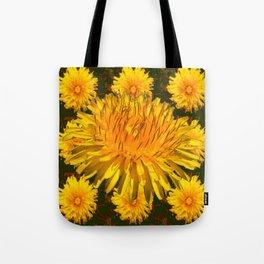 YELLOW DANDELIONS  & DARK MOSS GREEN ART DESIGN Tote Bag