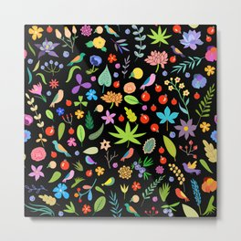 Leaves, berries, birds and flowers Metal Print