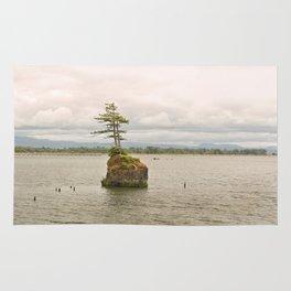 Altoona Rock Seastack Island Columbia River Oregon Washington Northwest Landscape Forest Trees Rug