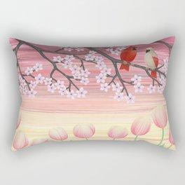 cardinals & tulips in spring Rectangular Pillow