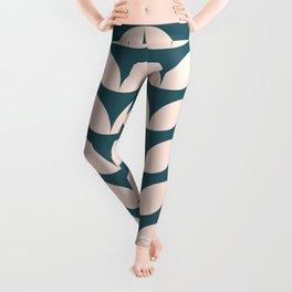 Geometric Leaf Shapes in Teal and Blush Leggings