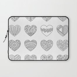 Tiny Hearts and Patterns, Adult Coloring Pattern Laptop Sleeve
