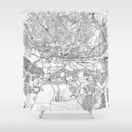 Johannesburg White Map Shower Curtain