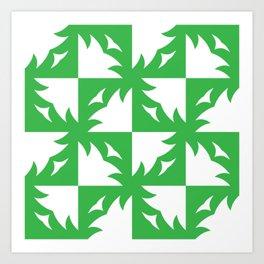 Tree Squares Light Green Art Print