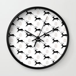 Jumping Deer and Pinecone Rustic Illustrated Print Wall Clock