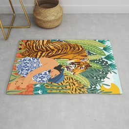 Awaken The Tiger Within Illustration, Wildlife Nature Wall Decor, Jungle Human Nature Connection Rug