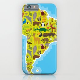 South America sloth anteater toucan lama armadillo boa manatee monkey dolphin Maned wolf raccoon iPhone Case