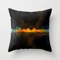 islam Throw Pillows featuring Jerusalem City Skyline Hq v4 by HQPhoto