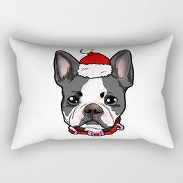 Boston Terrier Dog Christmas Hat Present Rectangular Pillow