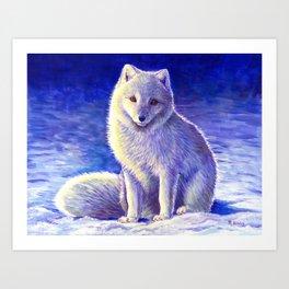 Peaceful Winter Arctic Fox Art Print