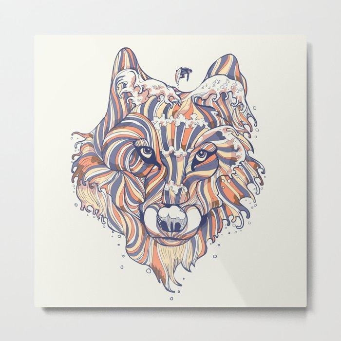 Wave Wolf Metal Print