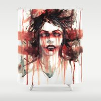 vampire Shower Curtains featuring VAMPIRE by AkiMao