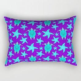 turtles and starfish seamless whimsical cute marine tribal ethnic artistic ocean purple pattern Rectangular Pillow