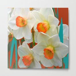 WHITE-GOLD NARCISSUS FLOWERS BLUE-BROWN Metal Print