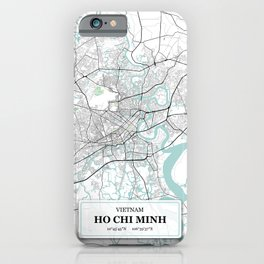 Ho Chi Minh, Vietnam City Map with GPS Coordinates iPhone Case
