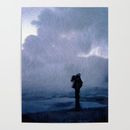Silhouette in the fog Poster