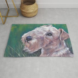Lakeland Terrier dog art portrait from an original painting by L.A.Shepard Rug