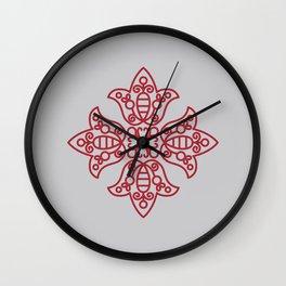 Folk Needlework Wall Clock