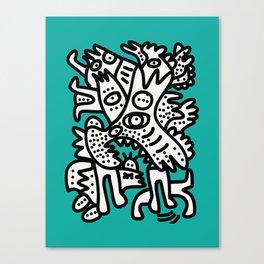 Green Acqua Street Art Black and White Creatures Canvas Print