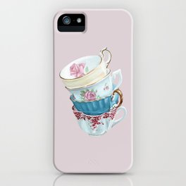 Lean on Me in Pink   Teacup Painting iPhone Case