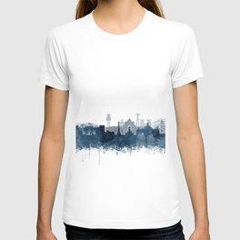 Lisbon Skyline Watercolor Navy Blue by Zouzounio Art T-shirt