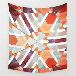 Orange Geometry of Three Wall Tapestry
