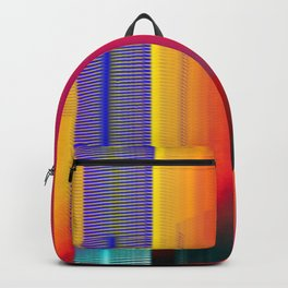 Glitch Fire. Ultraviolet Cityscape Backpack