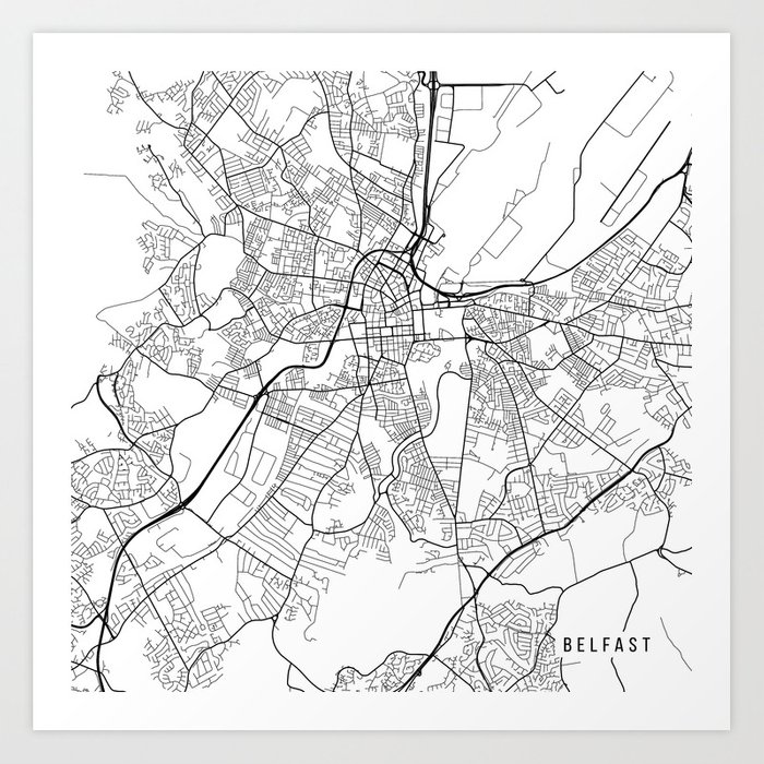 Print Map Of Ireland.Belfast Map Northern Ireland Black And White Art Print By