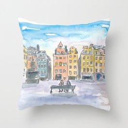 Stockholm Sweden Street Scene Gamla Stan Stortorget Throw Pillow