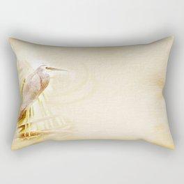 Antique style blue heron on textured background Rectangular Pillow