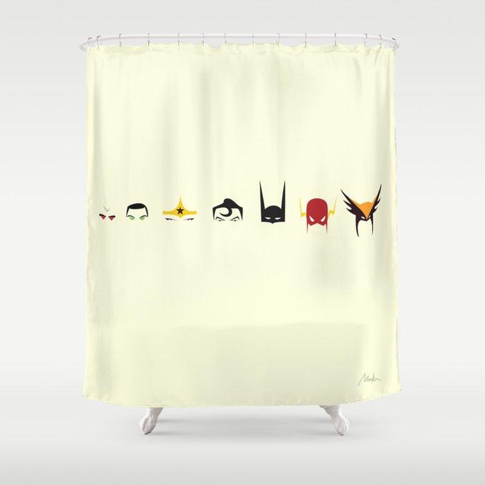 Justice League Minimal Design Shower Curtain