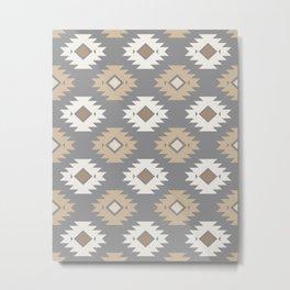 Geometric Aztec - Neutral Brown and Gray Metal Print
