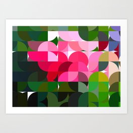 Pink Roses in Anzures 6 Abstract Circles 1 Art Print