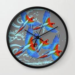 SWIRLING BLUE-GREY FLYING MACAWS ART Wall Clock
