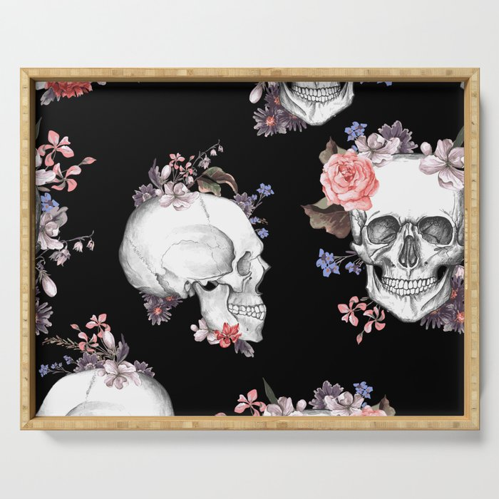 Day Of The Dead Floral Skulls Serving Tray