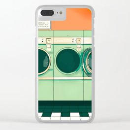 Green vintage laundry mat Clear iPhone Case