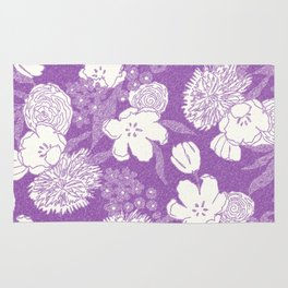 Sketchy Floral: Mauve Ivory/White Rug